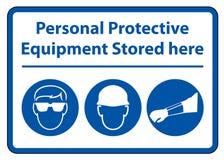 Persoonlijk beschermingsmiddel ( PPE) Hier opgeslagen isoleer op Witte Achtergrond, Vectorillustratie EPS 10 stock illustratie