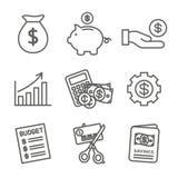 Persoonlijk die Financiën & Verantwoordelijkheidspictogram met Geld, Besparing, & Bankwezenopties wordt geplaatst royalty-vrije illustratie