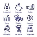 Persoonlijk die Financiën & Verantwoordelijkheidspictogram met Geld, Besparing, & Bankwezenopties wordt geplaatst vector illustratie