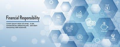 Persoonlijk Financiën & Verantwoordelijkheids Geplaatst Pictogram - de Banner van de Webkopbal stock illustratie