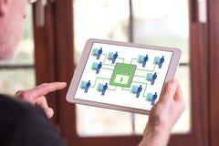 Persoonlijk gegevensbeveiligingconcept op een tablet stock afbeelding
