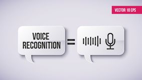 Persoonlijk medewerker en spraakherkenningconcept op een toespraakbel Concept soundwave intelligente technologieën vector illustratie