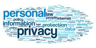 Persoonlijke privacy in de wolk van de woordmarkering Royalty-vrije Stock Foto