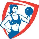 Persoonlijke Trainer Retro Female Lifting Dumbbell Stock Foto