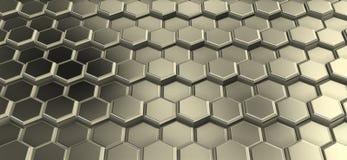 Perspactive μιας επιφάνειας hexagons μετάλλων που ενώνονται στις σειρές στοκ εικόνα με δικαίωμα ελεύθερης χρήσης
