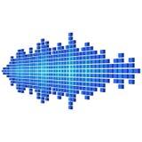Perspectief blauwe correcte die golfvorm van kubussen wordt gemaakt vector illustratie