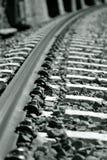 Perspectief op de spoorweg Stock Foto's