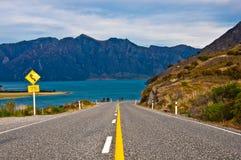 Perspectief van de snelweg van de wegweg Stock Afbeelding