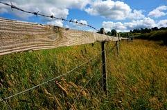 Perspectief van omheining in Yorksire-Platteland Stock Foto's