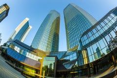 Perspectief van wolkenkrabbers in Frankfurt Stock Foto