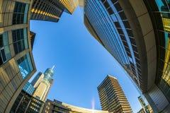 Perspectief van wolkenkrabbers in Frankfurt Stock Foto's