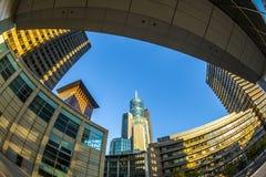 Perspectief van wolkenkrabbers in Frankfurt-am-Main Royalty-vrije Stock Afbeeldingen