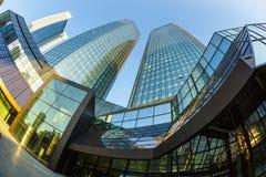 Perspectief van wolkenkrabbers in Frankfurt-am-Main Stock Afbeeldingen