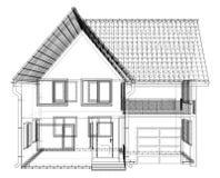 Perspectief wireframe van huisbuitenkant Vector van 3d wordt gecreeerd die stock illustratie