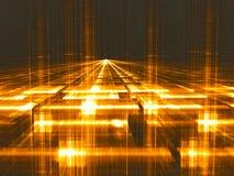 Perspectiefachtergrond - abstract digitaal geproduceerd beeld Stock Afbeeldingen