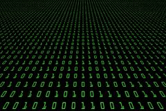 Perspectiefbeeld van technologie digitale donkere of zwarte achtergrond met binaire code in lichtgroene kleur 1001 Royalty-vrije Stock Foto's