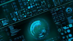 Perspectiefmening met uit nadrukgebieden van futuristische interface/het Digitale scherm