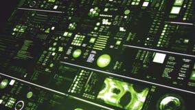 Perspectiefmening van donkergroene futuristische interface/het Digitale scherm royalty-vrije illustratie