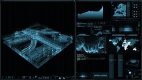 Perspectiefmening van futuristische interface/het Digitale scherm royalty-vrije illustratie