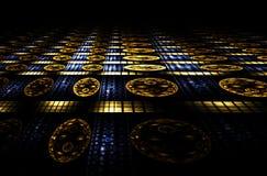 Perspectiva abstracta del casino, azul y de oro Foto de archivo