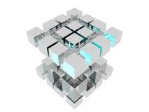 Perspectiva abstracta del cromo de los cubos Imágenes de archivo libres de regalías