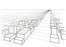 Perspectiva abstrata da paisagem da cidade do esboço Imagens de Stock Royalty Free
