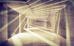 Perspectiva abstrata do interior do concreto 3d Imagem de Stock Royalty Free