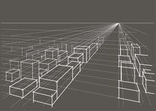 perspectiva arquitetónica linear da paisagem da cidade do esboço no fundo cinzento Fotos de Stock
