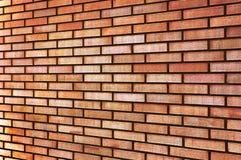 Perspectiva beige amarilla roja del fondo de la textura de la pared de ladrillo de la multa del moreno del Grunge, primer horizon Fotos de archivo