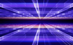 Perspectiva cúbica con flujo de datos del código binario Fotografía de archivo