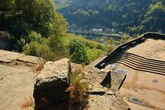 Perspectiva de Belveder na área de turista de Labske Piskovce na tarde o 8 de setembro de 2018 Fotografia de Stock Royalty Free