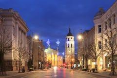 Perspectiva de Gediminas y la catedral de Vilna Foto de archivo libre de regalías
