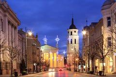 Perspectiva de Gediminas y la catedral de Vilna Fotografía de archivo
