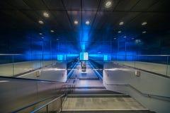 Perspectiva de Hamburgo del metro de HafenCity U-Bahn imagen de archivo