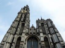 Perspectiva de la catedral de Amberes Foto de archivo libre de regalías