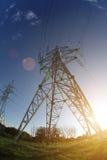 Perspectiva de la línea eléctrica Imagen de archivo libre de regalías