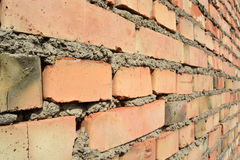 Perspectiva de la pared de ladrillo Imagenes de archivo