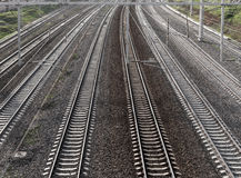 Perspectiva de la pista de ferrocarril Foto de archivo