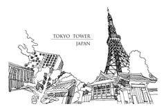 Perspectiva de la torre de Tokio del callejón por otra parte del templo, illu Imagenes de archivo