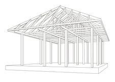 Perspectiva de madeira do quadro do esboço arquitetónico Fotos de Stock Royalty Free