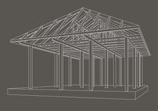 Perspectiva de madeira do quadro do esboço arquitetónico no fundo cinzento Fotos de Stock Royalty Free
