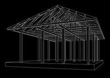 Perspectiva de madeira do quadro do esboço arquitetónico no fundo preto Foto de Stock Royalty Free