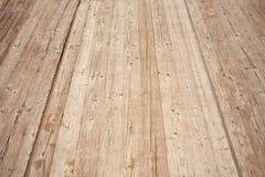 Perspectiva de madeira marrom velha do assoalho Textura do fundo Fotografia de Stock Royalty Free