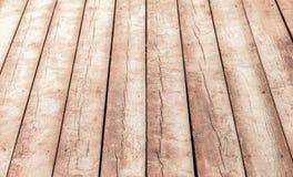 Perspectiva de madeira velha do assoalho Textura do fundo Fotografia de Stock Royalty Free