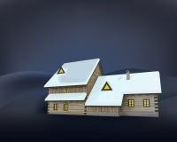 Perspectiva de madera del lado de la cabaña del invierno rural en la noche Fotos de archivo libres de regalías