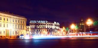 Perspectiva de Nevsky da noite Fotografia de Stock