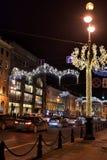 Perspectiva de Nevsky en las decoraciones del Año Nuevo Fotografía de archivo