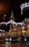 Perspectiva de Nevsky en las decoraciones del Año Nuevo Imágenes de archivo libres de regalías