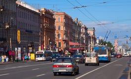 Perspectiva de Nevsky en St Petersburg Foto de archivo libre de regalías
