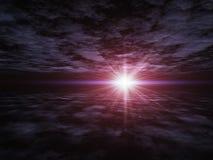 Perspectiva del horizonte sobre el plano de la nube Imagenes de archivo